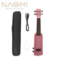 """NAOMI 21 """"Okoume Electric Ukulele Ukelele Uke Kit W / Gig Bag Cavo audio da 3,5 mm Silent Electric Ukulele Soprano Uke-Pink"""
