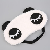 Venta al por mayor de felpa Panda cara máscara de ojo viajes Sleeping Soft Eyeshade Blindfold Shade Portable Sleeping Eye Cover 4 tipos diseño lindo