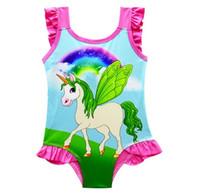 2018 6 Дизайн INS Единорог купальники One Piece бантом купальник бикини большие дети лето мультфильм младенческой плавать купальники пляжная одежда