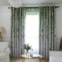 Blackout Curtain Leaves Birds Printed Drapes For Living Room...
