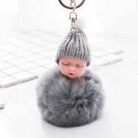 Спящая детская брелок кукла аксессуары пушистый мех помпон кролик меховой шар кролик брелок помпон брелок сумка аксессуары для детских подарков