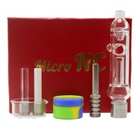 Mini Micro NC Kit Vetro Filtro tubo 510 Discussione titanio Nail Glass Jar Dabber silicone piatto Miele paglia Bong Pipes Gift Box