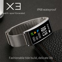 X3 Display a colori IP68 Impermeabile Bluetooth Smart Wristband Cardiofrequenzimetro da polso Monitor da polso per iPhone 8 X