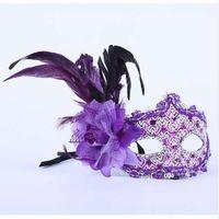 Encantador Princesa pena Máscara 5 cores de Couro + pano + flor Festa de Natal do Dia Das Bruxas 3 pcs ou mais registrado frete grátis YT4