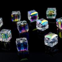 500 قطعة / الوحدة الأوجه suqare كريستال زجاج فضفاض الخرز فاصل سحر لصنع المجوهرات 4 ملليمتر 6 ملليمتر 8 ملليمتر