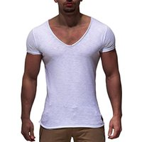 Sexy Men V Neck Gyms Tight Short Sleeve T Shirt Tops Crossfi...