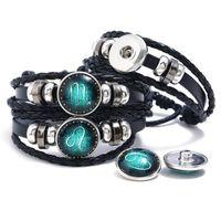 12 Zodiac Constellation Bracelet À La Main En Cuir BRACEELTS Braceelts fit 18mm Noosa Snap Bouton Alliage Femmes Hommes Adjutable Dessiner Bracelets À Cordes