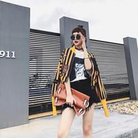 Harajuku Motif De Dessin Animé Broderie Patch Designs Imprimé Rayé Manteau Printemps Automne Femmes Nouvelle Mode Street Style Veste JQ325