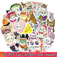 50 PCS Cute Cat Stickers Graffiti Animal Decals DIY for Lapt...