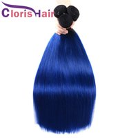 Renkli T1B / Mavi Ombre Brezilyalı Virgin İnsan Saç Örgüleri Ucuz Koyu Kökler İpeksi Düz Vizon Brazillian Ombre Saç Uzantıları 3 Paketler