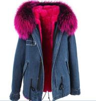 Marca Jazzevar Senhoras casacos de neve Rosa guaxinim pele guarnição rosa pele de coelho azul demin casacos de pele parkas para as mulheres Austrália nova Zelândia