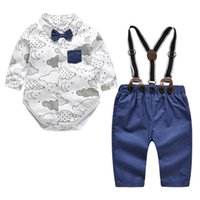 Baby Boy Gentleman Clothes Set Autumn Summer Suit for Toddler Kid Formal Party Bow Bodysuit Set Infant Boy Striped Clothing