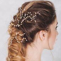 Belles or Tiare diadèmes perles blanches Hairpins Rhinestone Clips épingles à chignons Perles Bridesmaid femmes Bijoux cheveux ClipPin