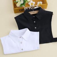 Cuello de camisa para adultos Cuello desmontable Accesorio de suéter Todos a juego Blanco negro algodón mezcla falsa camisa collar unisex