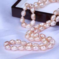 Очаровательный 8-9 мм розовый барокко пресной воды культивированный жемчуг ожерелье 50 см ювелирные изделия