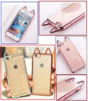For apple iphone X cases Cute Cat Ears Electroplating Chrome...
