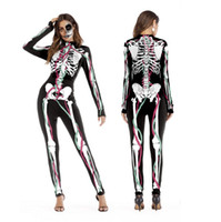 2018 Nuevos Trajes de Cosplay de Halloween para Mujeres Disfraces de Esqueleto Humano Disfraz de Halloween Party Skintight Impreso de Manga Larga