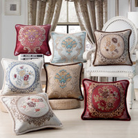 Wholesale elegant throw pillows for sale - European Style Jacquard Elegant  Floral Decorative Cushion Covers For 5c9abb65f57f