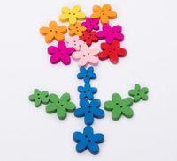 DIY flor botón de madera pintura hecha a mano de costura Craft Scrapbook Tools 2-Holes Botones Regalo de Navidad de la escuela Ropa de bebé Accesorios