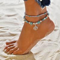 Bohemia measle Yoga Fußkettchen Sommer Strand Meeresschildkröte Seeschnecke Seestern Leben Baum Anhänger Fußkettchen Retro-Perle Fußschmuck