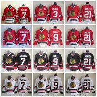 17bfdbae0 Chicago Blackhawks 9 Bobby Hull Jerseys Hockey 3 Pierre Pilote 7 Tony  Esposito 7 Chris Chelios Jersey Red 21 Stan Mikita