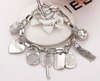 Gioielli in cristallo lega chiave Braccialetti con cuore di amore della gemma placcati oro pendenti di nappa fascino del braccialetto dei braccialetti per gli uomini Accessori regalo delle donne