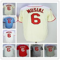men' s #6 Stan Musial Jersey St. Louis Home Away Cream B...