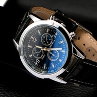 Business Mens Watches Blue- ray Glass Leather Students Men Qu...
