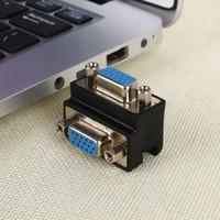 90 degrés angle droit 15 broches VGA SVGA femelle à femelle convertisseur adaptateur adaptateur d'extension pour cordon moniteur connecteur