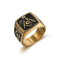 Punk acciaio inossidabile 316L Dio colore massonico massone retrò rock hip hop anello per gli uomini gioielli di moda