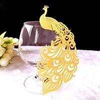 Tarjeta de pavo real Suministros para la fiesta Tarjetas de copa de vino Decoración de boda Corte por láser Escolta Trucos de copa Decoración de mesa artesanal Baby Shower
