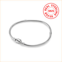 Classic design 925 Sterling Silver Charms Bracelet 3mm snake...