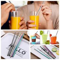 스테인레스 스틸 음료 밀짚 6 * 0.5 * 215mm 재사용 가능한 레인보우 골드 메탈 스트레이트 벤드 빨대 음료 티 바 마시는 빨 대 1000pcs ooa5116