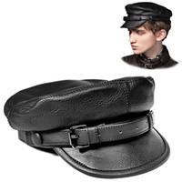 Cappello unisex piatto in pelle stile sud coreano unisex per uomo Donna Personality Locomotiva Punk Berretti da baseball neri