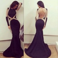 Sexy Backless Long Sleeve Black Mermaid Dress Special Occasi...