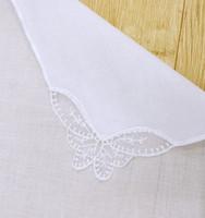 платок 100% хлопковой ткани, как салфетки с белой кружевной платок вышивка для Wed банкета