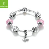 Fashion silver plated charms diy bracelet hot style valentin...