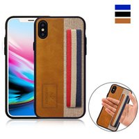 Vintage Plaid Stripe Wristband Phone Case for iPhone X 8 7 P...