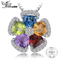JewelryPalace 2.6ct Natural Blue Topaz Amethyst Citrine Garnet Peridot Pendants 925 Sterling Silver Jewelry Not Include a ChainY1882503