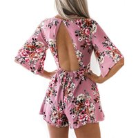 Women Rompers 2018 Summer Boho Style Floral Print Beach Play...