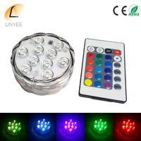 5050 SMD 10 LED غاطسة ضوء شمعة مصباح التحكم عن بعد متعدد الألوان الزهور زهرية قاعدة للماء ضوء زفاف عيد ميلاد الحزب الديكور