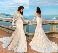 2018 Champagne Mermaid Lace Wedding Dresses Long Sleeves Bea...