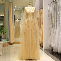 2019 fairy scoop neck open back prom gowns gold long sleeves...