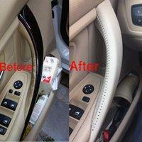 Microfaser Auto-Türinnengriffabdeckung für BMW 3er Reihe F30 / F35 / Autoinnentürgriffabdeckung für BMW 316 318 320 328 330 Handnähen 3-farbig