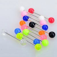 50 unids Lengua Piercing Acero quirúrgico Lengua Bar Nipple Bars Barbell Body Piercing Jewelry ba56
