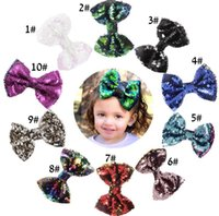 Cute Baby Girl Big Glitter Shiny Sequined Bow Bowknot Hair B...