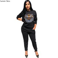 2018 Nouvel Automne À Manches Longues Animal Tiger Sequined Sweat Pantalon Long 2pcs Ensemble Des Femmes De Sport Combinaisons Survêtement Tenues Y130