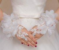 rendas flores curtas Luvas nupcial luvas vestido de casamento branco cremoso vermelho e acessórios mitten luvas Etiquette
