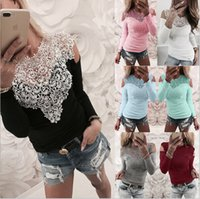 Women Tops Spring New Sexy Strapless Lace Stitching T- shirt ...