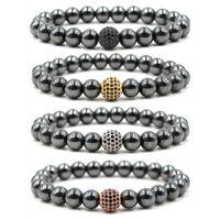 8mm pulseiras de hematita frisado jóias de ioga de buddha de buddha zircão cz grânulos chakra pulseira pulseira para as mulheres kimter-g114s z